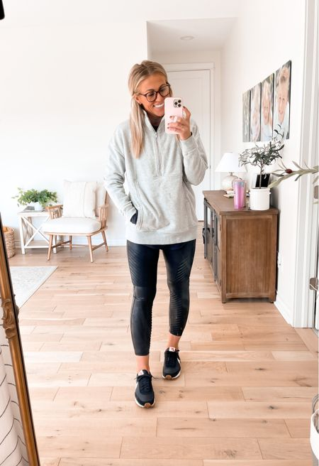 Cozy pullover sweatshirt is from Evereve, in size medium. Leggings are from Spanx (use SARAHJOYxSPANX for 10% off + free shipping). Wearing sized medium.   #LTKstyletip #LTKSeasonal #LTKunder50