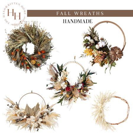 Beautiful handcrafted wreaths for fall  Fall wreath   small business   fall decor   boho fall decor   pampas grass wreath   autumn decor   fall front door   #LTKsalealert #LTKSeasonal #LTKhome
