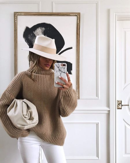 Favorite chunky sweater by Anine Bing  Janessa Leone Hat  #falloutfit  #LTKSeasonal #LTKitbag #LTKstyletip