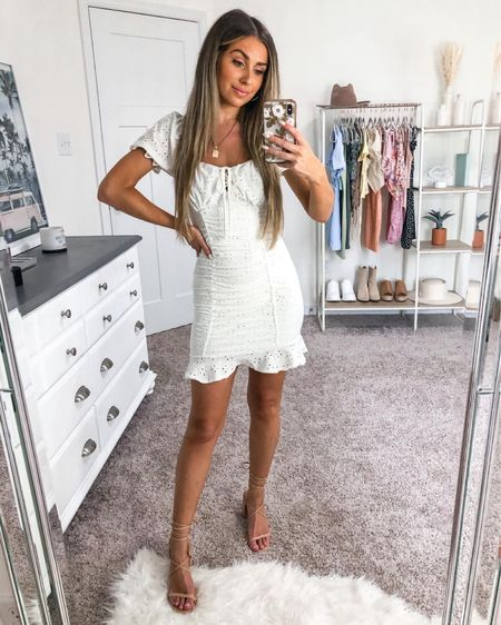 Perfect little white dress 🤍 this Windsor find is under $40 and is true to size! Wearing an xs ✨ nude heels are comfy and an affordable find 🥰 http://liketk.it/3ifHq #liketkit @liketoknow.it #LTKstyletip #LTKunder50 #LTKshoecrush