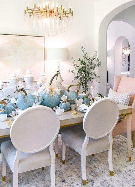 Fall table, velvet pumpkins, home decor, fall decor, dining room  #LTKhome