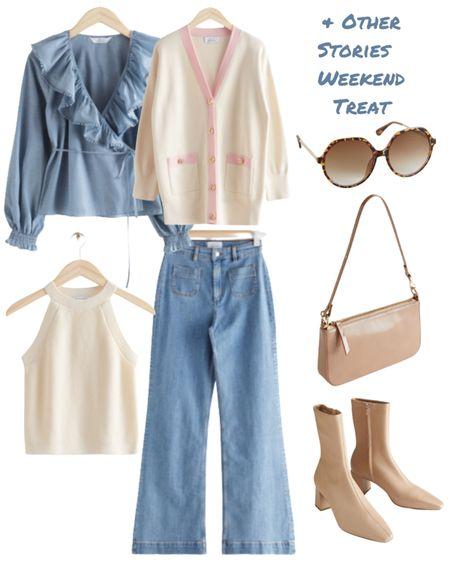 & Other Stories Weekend Treat Sale  #oversizedcardigan #ruffleblouse #flaredhighwaistjeans #jeans #tortoiseshellsunglasses #sockboot #patentshoulderbag    #LTKsalealert #LTKunder100 #LTKeurope