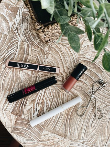 My go-to Lancôme mascara picks 👁: 1. Cils Booster XL Primer 2. Monsieur Big (fluffier brush for thicker lashes) 3. IDÔLE (curved brush, separates + lengthens lashes)  …and liquid lipstick in shade French tea 😘   @LancomeOfficial #LTKbeauty #LTKunder50 #LancomePartner