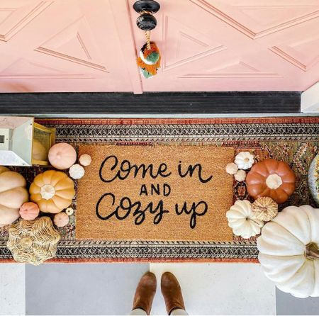 Welcome fall with this cozy mat layered with a runner that has all the autumn vibes! 🍂🧡 Hello pumpkins of all shapes and sizes PLUS texture… yes please!   #LTKunder50 #LTKhome #LTKSeasonal