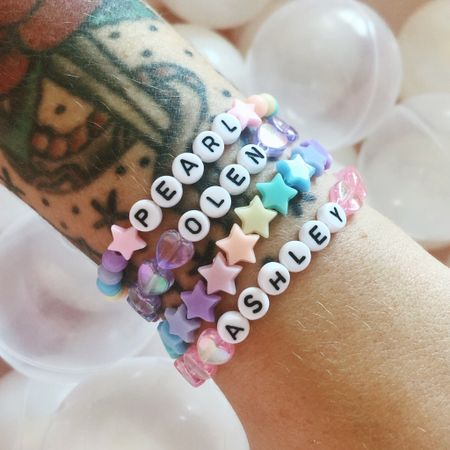 I am obsessed with these super cute custom bracelets I got off Etsy! They came super fast even though they were handmade and from Denmark 🤍 now I need to get a Bulleit bracelet and a Jack bracelet next. Love that I got to pick all my own beads and details. Super fun! I love pastels and rainbows so I had a lot of fun with this one!!! 💕🌈💕❤️✨🎀😍   Shop your screenshot of this pic with the LIKEtoKNOW.it shopping app @liketoknow.it http://liketk.it/2WSYB #liketkit #LTKstyletip #LTKunder50 #LTKfamily @liketoknow.it.family @liketoknow.it.home