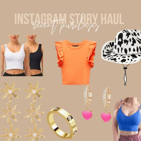 Instagram story haul • denim shorts • ruffle top • amazon sports bras • athleisure • cowgirl hat • cow print hat • jewlery • heart huggies • floral earrings • bauble bar http://liketk.it/3hSBH #liketkit @liketoknow.it #LTKstyletip #LTKfit #LTKunder50