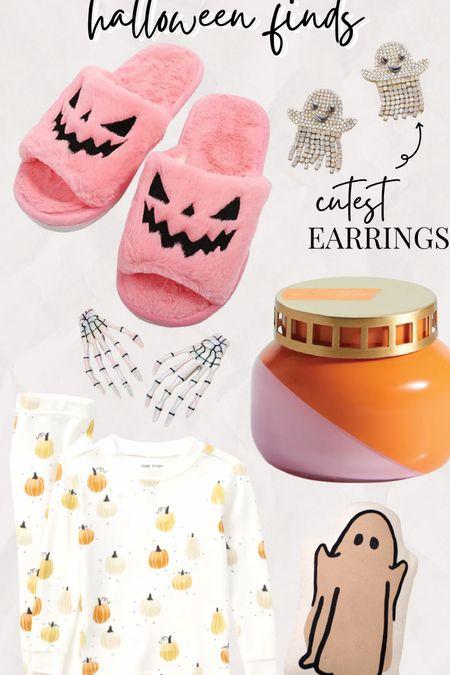 Halloween - what I've bought Pink pumpkin fuzzy slippers Baublebar ghost earrings Skeleton hand hair clips Cute Halloween pjs for kids pajamas  Capri blue volcano candle   #LTKSeasonal #LTKhome #LTKHoliday