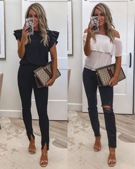 Express try on head to toe looks  Bodysuit small  Split jeans sz 4 White top small Jeans sz down one Sz 2 Heels tts  Gucci bag clutch or shoulder bag  Date night    #LTKitbag #LTKstyletip #LTKworkwear