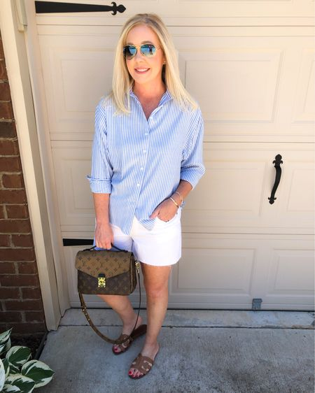 Hope y'all are enjoying the long weekend. ❤️💙We've just been doing things around the house outside. Wanted to share a new favorite top with you that's currently 40% off. If you love lightweight button downs in the summer like I do, this one is a must! Wearing size XS. Shorts are true to size and in the white version of last year's best seller. Shop direct links by using the link in my bio or follow me in the @liketoknow.it app. http://liketk.it/3gwd0 #liketkit #LTKunder50 #LTKsalealert