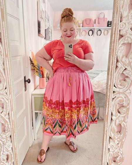 Anthropologie tee and tropical skirt. Tory Burch Miller Sandals.🧡💗❤️  http://liketk.it/3hXpX #liketkit @liketoknow.it #LTKcurves #LTKtravel