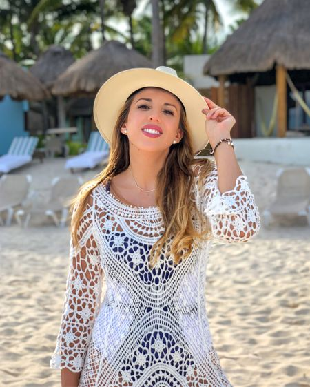 The beach is my favorite place on earth!  RivieraCoco is the proof of how much I love Summer trends and palm trees. 🌴  I am wearing today a white crochet beach cover up from @RivieraCoco. I found for you many similar products you can get on the @liketoknow.it app.  I am wearing a navy blue and white one piece swimsuit from RivieraCoco.com too.   I added to this outfit a beautiful Panama hat. This one was hand painted by my sister. I found many feminine hats you can shop online to get the look.  .....  Download the LIKEtoKNOW.it shopping app to shop this pic via screenshot. http://liketk.it/2Sm3D  Make sure to follow me on the app and on Instagram @BrunereauLaura @LuxeFashionBlog and @RivieraCoco.  .....  #liketkit #LTKDay #LTKspring #LTKstyletip  #rivieracoco #summerfashion #beachoutfit #beachdress #swimsuit #panamahat #summertrends #brunereaulaura