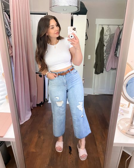 These are my new FAVORITE jeans - super soft, the cutest fit, the perf wash, and just the right amount of distressing. They're big on the waist but a belt easily fixed that problem! Also in love with these sandals - extra comfy, high quality, and incredibly chic! They're available in black and white too 💕Make sure to check out all my other Walmart finds in my other posts - everything is under $30 and most of my finds are under $15!  Sizes: Top - medium Jeans - size 10 (only size they had, definitely big on the waist but I love the fit on the legs - a belt fixed the waist gapping issue) Shoes - true to size (size 8)   http://liketk.it/3fcQ3 #liketkit @liketoknow.it #LTKcurves #LTKseasonal #LTKsalealert #LTKunder50