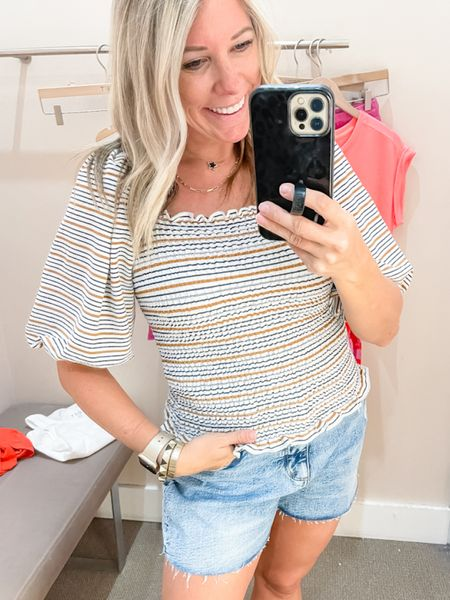 Love the striped puff sleeve smart summer top with these denim shorts. Wearing a size extra small and a top and a two in the shorts. Currently both 50% off. Loft sale summer outfit ideas  #LTKunder50 #LTKSeasonal #LTKsalealert