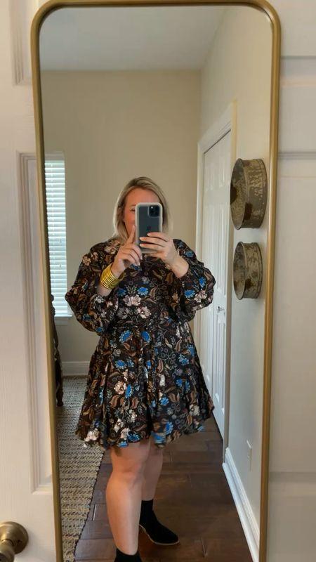 Sweet dress perfect for fall nights  Wearing a size large printed mini dress    #LTKSeasonal #LTKunder100 #LTKcurves