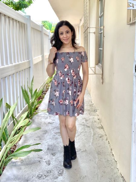 A gray floral dress with combat boots. I got these black boots in size 6.5 and also available in brown color.   #LTKstyletip #LTKunder50 #LTKshoecrush