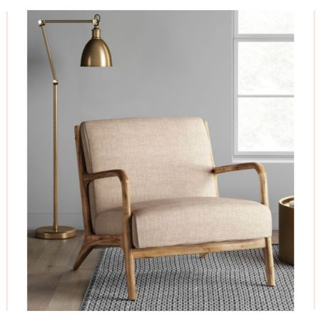 Simple and understated home decor. This vintage style armchair is constructed of wood in a warm distressed finished featuring a padded linen seat. The perfect accent chair in your living room or entry way. Several fabric shades to choose from.   #kimbentley #target #furniture  #LTKhome