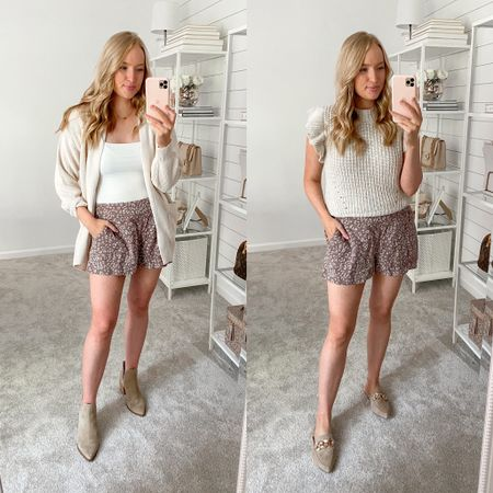 Summer to fall transitional outfit ideas with these comfy Target shorts (small) with a cardigan (sized down to XS) #targetoutfit #targetstyle