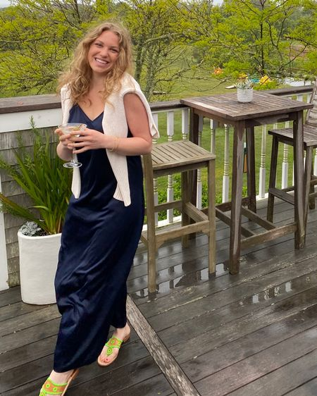 Perfect summer dinner outfit: navy slip dress and sandals with a sweater tossed over, just in case! Pairs well with a 🍸 #liketkit http://liketk.it/3gZeJ @liketoknow.it #LTKunder100