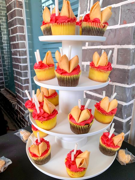 Cute fortune cookie cupcakes for my daughter's birthday. Used my cupcake stand. Easy to setup and take down to store the stand. #CupcakeStand #DessertTower #Tower #Stand #cupcakes #Home #Foodie @amazon   #LTKkids #LTKfamily #LTKhome