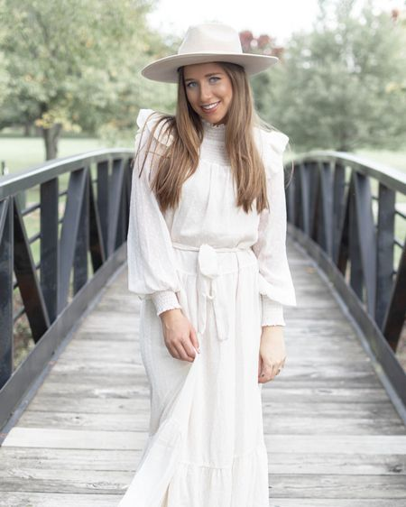 Loving this white long sleeve maxi boho dress from Red Dress Boutique. So gorgeous and under $100. This cream fedora hat is my favorite of the season!  http://liketk.it/2G8ZI #liketkit @liketoknow.it #LTKunder50 #LTKunder100