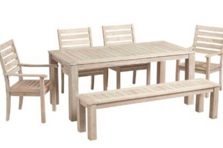 Outdoor Furniture Sale #outdoortable #patiofurniture #whitewashedbench #outdoorchairs   #LTKhome #LTKsalealert #LTKSeasonal