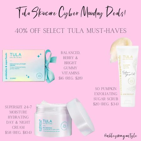 Tula has 40% off select products as their Cyber Monday sale! Includes a supersize 24-7 moisture hydrating day and night cream, so pumpkin exfoliating sugar scrub and the balanced, berry and bright gummy vitamins. No code required. Sale ends tonight! @liketoknow.it #liketkit #LTKgiftspo #LTKbeauty #LTKsalealert #cybermonday #skincare #tula #tulaskincare #moisturizer #dealoftheday #exfoliatingscrub #skincareproducts http://liketk.it/32NSE