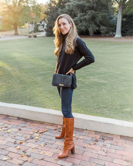 Fall Photos, Poncho Sweater, Tall Boots  Everything pictured runs TTS! Exact color of my boots are sold out, same style in a similar color linked. Also linked two gorgeous dupes for less!