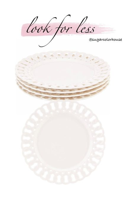 amazon finds! Set of 4 pierced dessert plates similar to La Porcellana. The dessert size is the perfect versatile accent plate and can be layered into your table setting.   under $30 for the set   #LTKsalealert #LTKhome #LTKunder50