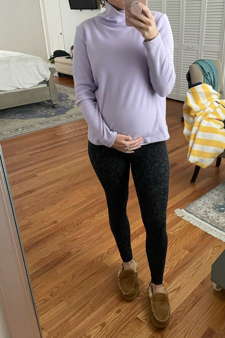 Dudley Stephens Greenpoint Turtleneck is bump friendly - Camo high rise align leggings by lululemon will grow with your bump - non maternity leggings    #LTKbump