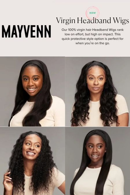 """Check out these new Virgin Hair Headband Wigs from Mayvenn. Four great styles. They come with 5 complimentary headbands. Sizes: 16"""" to 30"""". Wigs are 21.5"""" and can be adjusted up to 22.5"""".   MALAYSIAN BODY WAVE HEADBAND WIG   BRAZILIAN LOOSE WAVE HEADBAND WIG  BRAZILIAN DEEP WAVE HEADBAND WIG  BRAZILIAN NATURAL STRAIGHT HEADBAND WIG   #headbandwigs #mayvenn #wigs #virginhari #malaysianbodywave #brazilianloosewave #braziliandeepwave #braziliannaturalstraight #blackownedbusiness"""