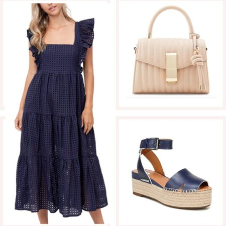 En saison navy eyelet dress with ruffle sleeves. This is an all around great summer dress especially with fun navy wedges and a neutral handbag! @liketoknow.it #liketkit #LTKunder50 #LTKunder100 #LTKwedding http://liketk.it/3edxg