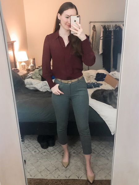 Business casual, wear to work, work wear, real estate agent, realtor outfit, burgundy blouse  #LTKworkwear