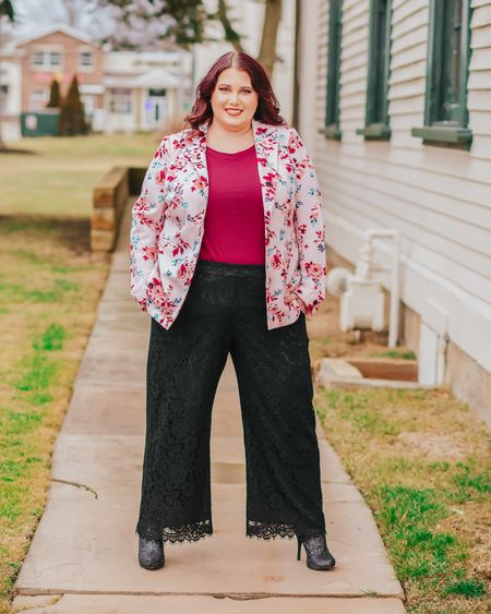 """Showing off these amazing J Crew pants again because they are everything! They also come in red and are perfect for #valentinesday Friday! I got this jacket last year from Lane Bryant and though it isn't available I found a really cute floral blazer from Walmart y'all! The brand is Made by Olivia, comes in sizes small to 3x and is $21.99! Go get you one!!!  . . Follow DivasNeverSettle on the @liketoknow.it app to shop this whole #liketkit look! 1️⃣. Click """"SHOP M Y LOOKS"""" link in my bio's Linktree 🛍️ 2️⃣. Search for """"DivasNeverSettle"""" 🙋 3️⃣. Click """"FOLLOW!""""🙌🏻 . .  http://liketk.it/2KeMD  . .  #LTKsalealert #LTKstyletip #LTKunder50 #LTKunder100 #LTKbeauty #LTKcurves #effyourbeautystandards #jcrew #lanebryant #valentinesdaylook #plussizevalentinesday #plussizevalentinesdaylook #plussizeblogger #plussizefashion #plussizeoutfit #psoutfit #psootd #plussizeoutfitinspo #psoutfitinspo #curvyfashion #scsister #stylecollective #scsisterlove #dreamypresets #pinksapphirepreset #over30style #over30fasion #rewardstyleblogger"""