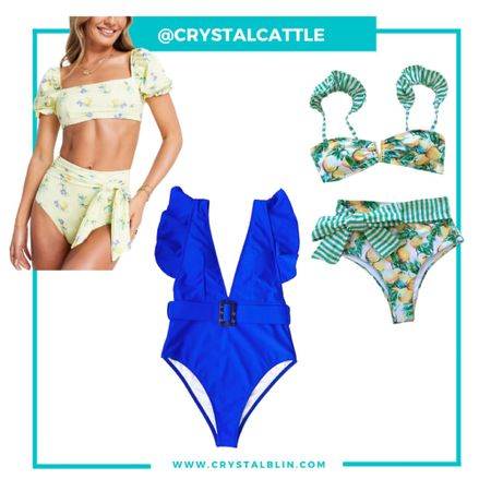 Can't wait for our vacation. These are the swimsuits I grabbed. I went with my regular size in the yellow and the other two sized up to a large. #hocspring #bluespring #  #LTKtravel #LTKunder50 #LTKswim