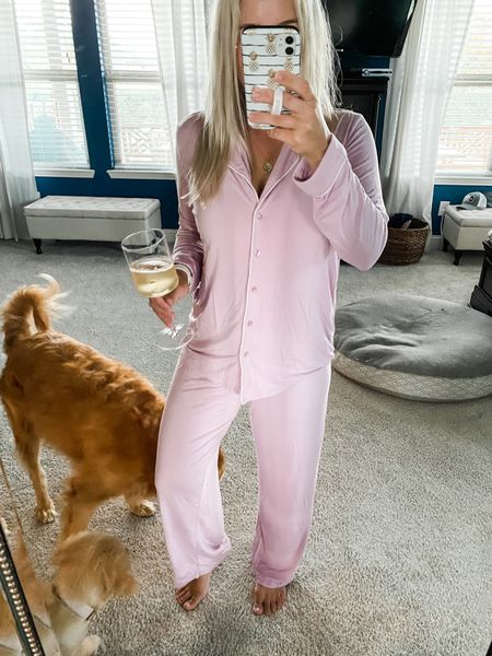 """It's a very rowdy Friday night over here. 🤘🏼 Cooking a biggo pot of Red Beans and Rice, cleaning the floors, baths for furry creatures of all kinds 🐶🐶👧🏼👦🏼, and the always alluring spot cleaning of the couch. I know what you're thinking, """"Lilly… your kid 30's are showing."""" 🤷🏼♀️ At least there are these comfy pjs, a solid pour of bubbles, and cute pups!     #LTKhome #LTKfamily #LTKunder100"""