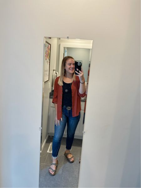 Super simple, but cute look I wore to church! This would be a great outfit for a teacher as well! I wear size 27 jeans from Buckle, belt is from Glik's, tank from Maurices along with my shirt.  @shop.ltk  #competition   #LTKstyletip #LTKSeasonal #LTKfit
