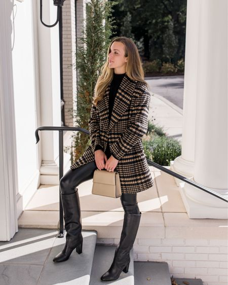 My plaid shawl collar coat is restocked in several sizes. Wearing XS as it runs large. Exact sweater is Theory—similar linked. Commando leggings have a slight sheen that helps them look a bit elevated and are TTS. Boots TTS. Bag is old Hunting Season, similar linked. #winteroutfitwomens #dressywinteroutfit #winterdatenightoutfit #faxuleatherleggingsoutfit #winteroutfits