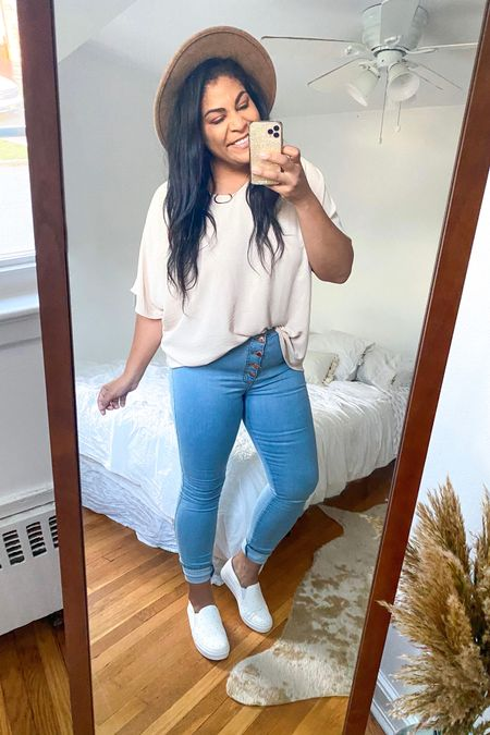 """Use code """"carlene15"""" for 15% off Shop Hopes ♥️ Blouse: TTS, wearing size L... slightly oversized and I love it! Jeans: 15. Shoes: So comfortable + TTS! #liketkit  @liketoknow.it #booties #falloutfit #fallootd #fallstyle #everydayoutfit #casualoutfit #curvystyle #plussize #LTKcurves #shophopes     #LTKunder50 #LTKFall #LTKshoecrush"""