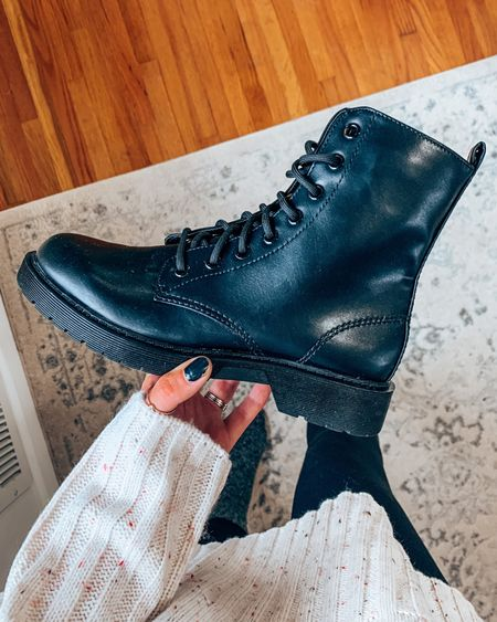 Affordable combat boot for the cold and fall & winter seasons!! Can be styled so many ways and a cozy winter essential🙌🏼😻  #LTKunder50 #LTKshoecrush #LTKSeasonal
