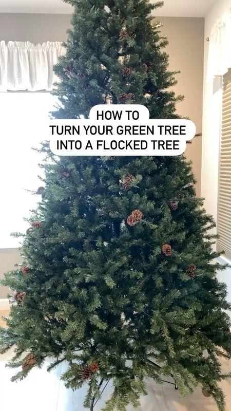 Upgrade your old Christmas Tree by adding Flocked branches! #LTKchristmas #flockedtree #holidaydecor #homedecor #flockedchristmastree  #LTKstyletip #StayHomeWithLTK #LTKhome