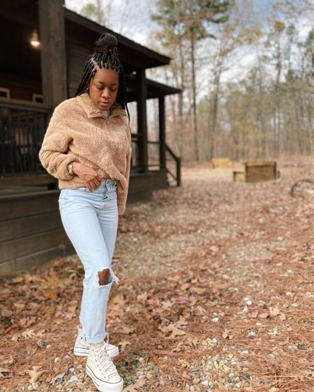 spent the weekend on a cabin getaway with my family. definitely wish I was still there instead of sitting on my kitchen floor unpacking boxes. thankful for a change of scenery, though! happy new week, loves. shop this super comfy sherpa here http://liketk.it/31ZqK #liketkit @liketoknow.it