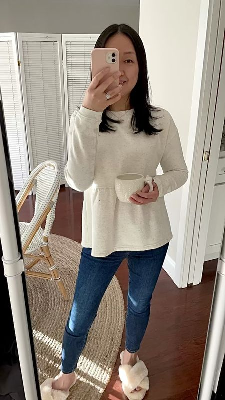 Cute speckled sweatshirt in size XS is a boxy oversized fit. Swan and llama mugs are sturdy despite being thrown into large shipping box that was loosely packed with my other items.    #LTKunder100 #LTKunder50 #LTKSeasonal http://liketk.it/35vdB @liketoknow.it #liketkit