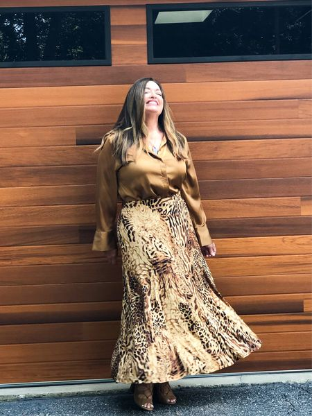 Loving my new garage doors and my fabulous maxi leopard skirt! #gifted @lovechicos! My satin blouse is from Chicos last year so I linked similar for you….  Today @lovechicos is having 3 deals in one day! Prices starting at $14.99.   #LTKstyletip #LTKcurves #LTKSeasonal