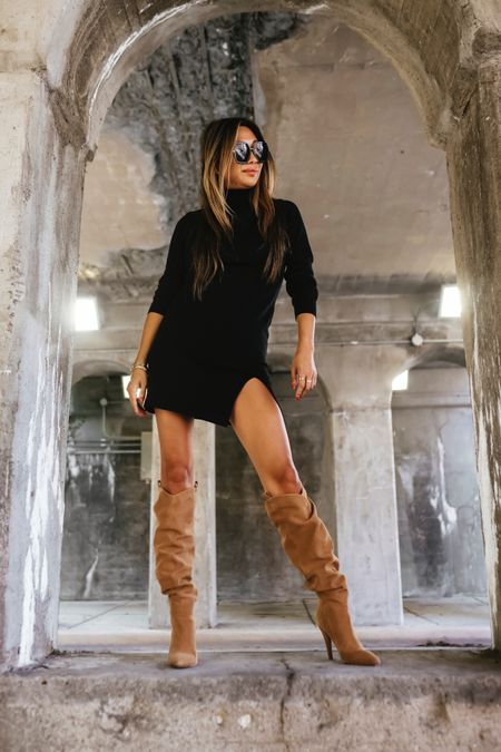 Fall outfit, sweater dress, knee high boots, revolve style, fall fashion  #LTKstyletip #LTKSeasonal