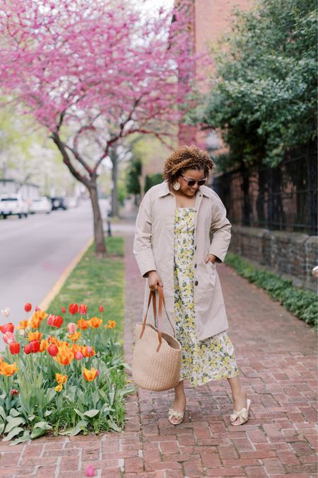 It's freezing in KY!!!!!  The amazing Toby keeps telling me to bundle up (he refuses to let us turn the heat on 🥶🥶🥶)!  But, this is the perfect weather for a fabulous @jcrew trench coat and Liberty florals! 🌸💛💛. This gorgeous dress fits TTS. I sized down from an XL to a Medium in the trench. http://liketk.it/3gsgy #liketkit @liketoknow.it You can instantly shop my looks by following me on the LIKEtoKNOW.it shopping app