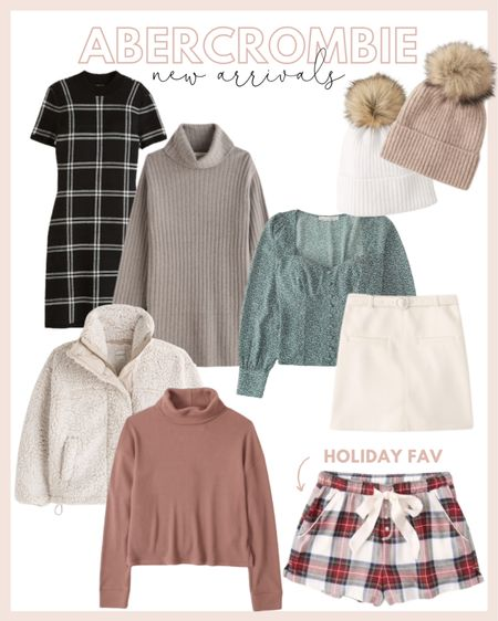 Abercrombie new arrivals for fall and winter! Loving the sweater dress and cozy Sherpa jacket. Can't wait to wear plaid pajamas and Pom hats for the holidays!  #LTKHoliday #LTKunder100 #LTKstyletip
