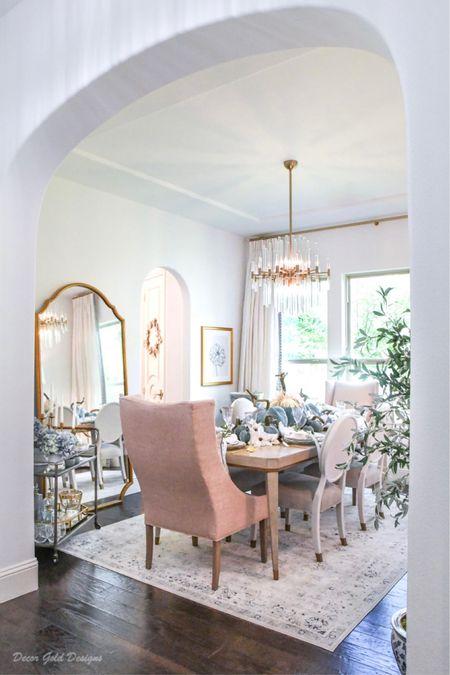 Dining room decor, fall decor, home decor, chandelier, floor mirror    #LTKhome #LTKSeasonal