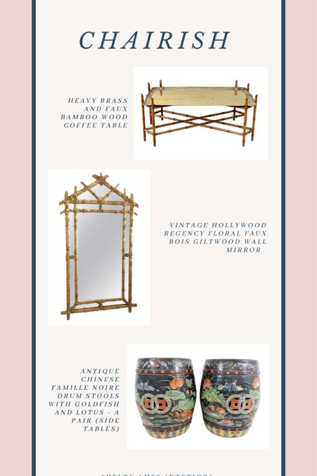 Stunning antique mirror, faux bamboo and brass table and antique garden stools http://liketk.it/3danp #liketkit @liketoknow.it Shop your screenshot of this pic with the LIKEtoKNOW.it shopping app
