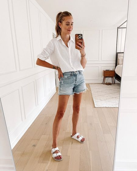 Daily outfit! Love this linen button down shirt for summer! Wearing and XS. My favorite denim shorts of the summer are the AGOLDE long. I sized up for a relaxed fit. And my white Birkenstock sandals #summeroutfit #denimshorts   #LTKstyletip #LTKunder50 #LTKunder100