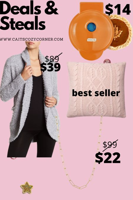 Fall favorites with cardigans - fall mini pie maker - pillow and gold necklace   #LTKunder50 #LTKSeasonal #LTKhome